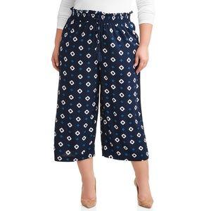 Terra & Sky Wide Leg Cropped Pant Soft 2X 3X 4X